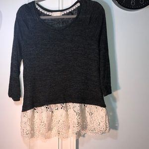 Black w lacy detail altard state blouse